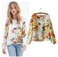 Más el tamaño tops para mujer de moda 2016 Nuevos atractivos backless camisetas impresión de la flor camisa de las mujeres blusa de gasa de manga larga de cobertura