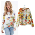 plus size womens tops fashion 2016 New sexy backless shirts flower printing long sleeve hedging shirt women chiffon blouse