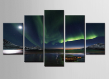 Night aurora painting 5 piece large canvas print wall art modular on decoration oil paint decorative pictures/E-WY-31