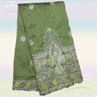 Wonderful Cotton Embroidery Raw Silk Cloth African George Lace Fabric For Evening Dress DGL9 8 Yards