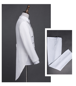 Image 3 - PYJTRL New Plus Size S 4XL Mens Classic Black White Shiny Lapel Tail Coat Tuxedo Wedding Groom Stage Singer Four Piece Suit