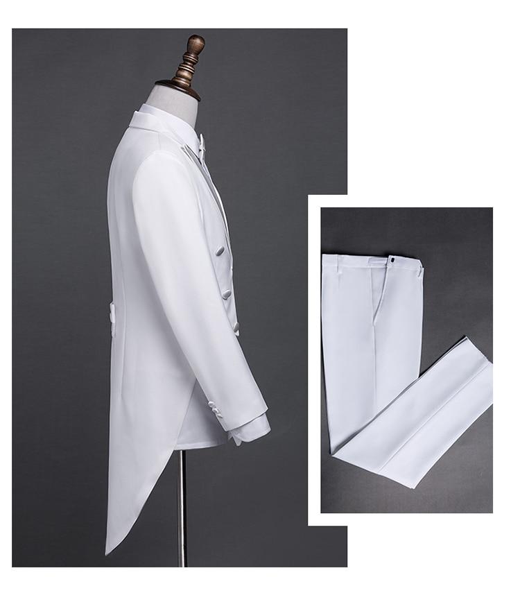 PYJTRL nouvelle grande taille S-4XL hommes classique noir blanc brillant revers queue manteau smoking mariage marié scène chanteur quatre pièces costume - 3