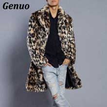 Genuo Men Leopard Print Fur Coat Winter Outwear Thick Casual Parka Jackets Warm Long Overcoats Streetwear Clothing