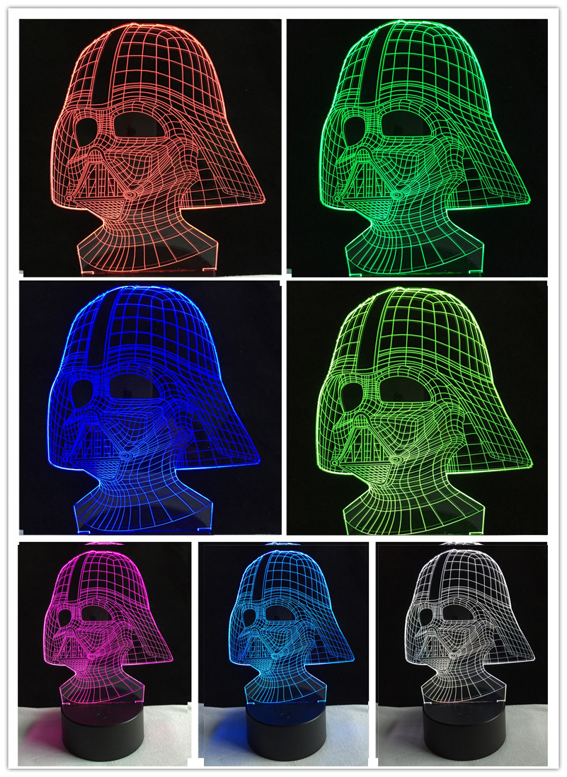 Black Knight Darth Vader 3D Visual Led Sleeping Nightlight Touch USB Table Lampara Illusion Mood Dimming Lamp Atmosphere 7 Color 3d led visual colorful usb table lamp