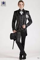 Latest Coat Pant Designs Black Embroidery Tailcoat Italian Formal Custom Wedding Suits For Men Groom 3