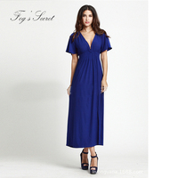 Female Formal Dress Sexy Deep V Neck Dresses Simple Brand Modern Fancywork Style Large Size 6XL