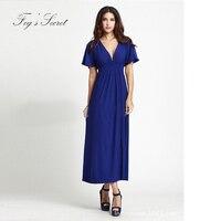 Vrouwelijke Formele jurk sexy v-hals jurken Eenvoudige Merk moderne fancywork stijl large 6XL XXXL