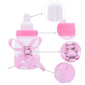 Image 3 - 12 teile/satz Transparent Kunststoff Feeder Flasche Candy Box Nette Blau/rosa Hochzeit Geburtstag Baby Dusche Kuchen Topper Partei Liefert