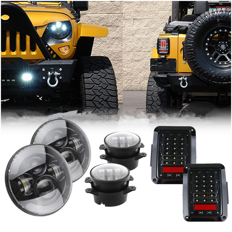 Wrangler Jk Led 7inch Round Headlight H4 High Low Beam 4