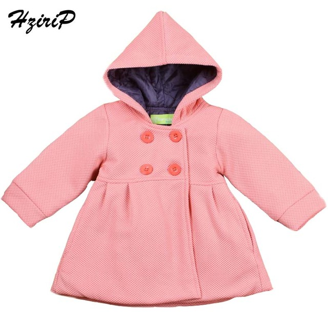 New 2016 Autumn Winter High Quality Fashion Baby Coat Cotton Lining Jacquard Hooded Coat Baby Girl Winter Jacket Kids Clothes