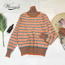 Winter 2018 chic hit color stripe turtleneck long sleeve knitting pullover keep warm cashmere sweater women Pull Femme C-219