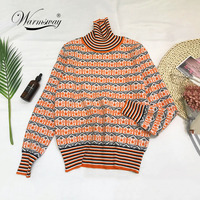 Winter 2018 chic hit color stripe turtleneck long sleeve knitting pullover keep warm cashmere sweater women Pull Femme C 219