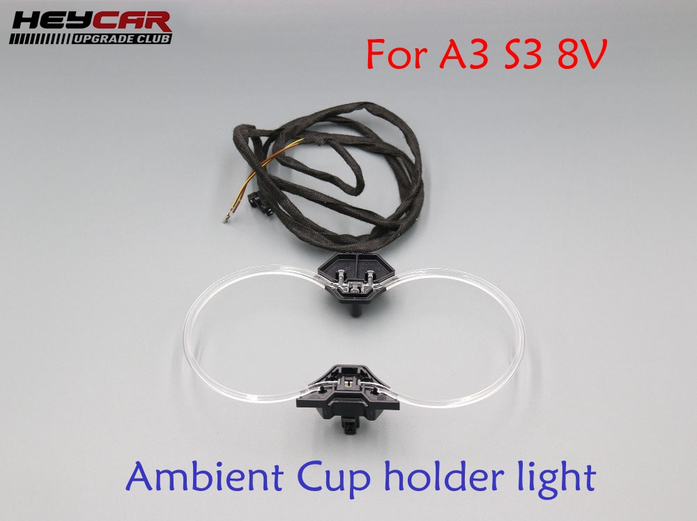 Ambient Cup holder light lights with install Harness 8V0 947 157 A 8V0947157A For Audi A3