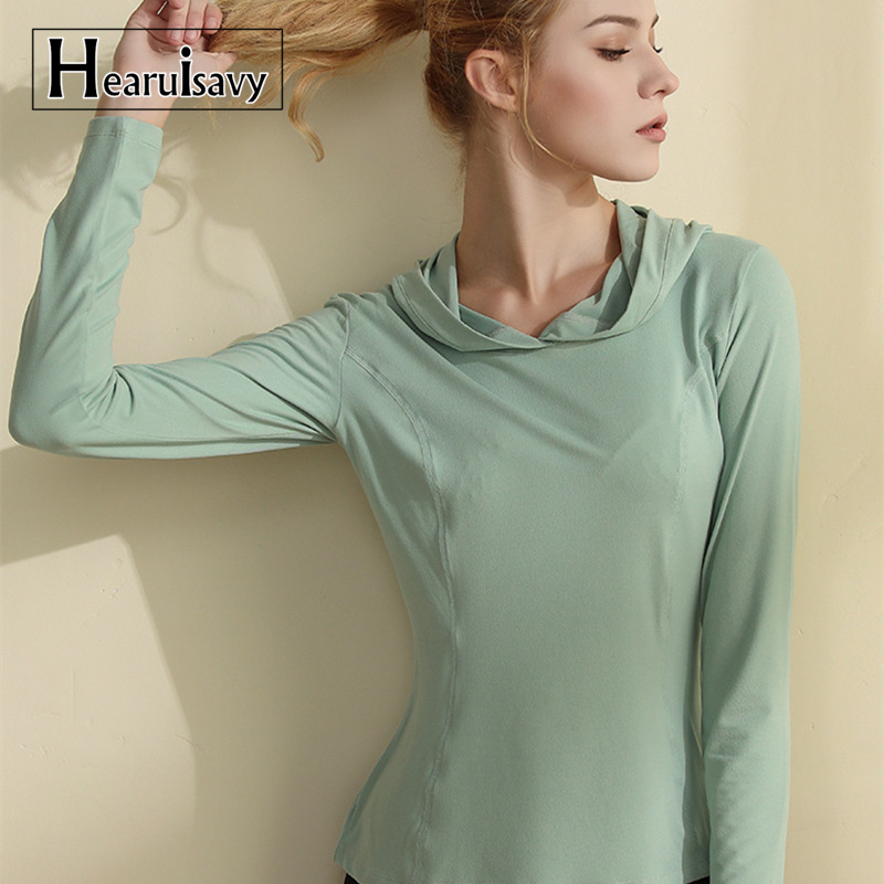 Hearuisavy Hooded Women Sports Shirt Quick Dry Breathable Long Sleeve Yoga Top Dry Fit Women Running Fitness Clothes Gym Tops
