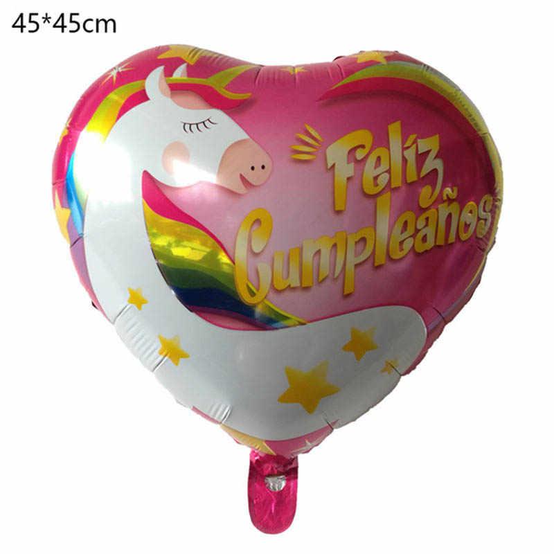1pc 18 Inch Unicorn Cartoon Balloons Foil Balloon Party Supplies Decoration Kids Birthday Aluminum Name
