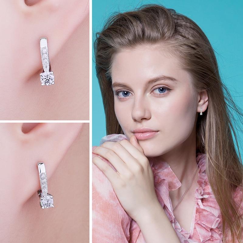 Sterling Silver Earrings 1ct Cubic Zirconia CZ Clip Earrings Fine Jewelry Anniversary Gifts For Women Fashion 3