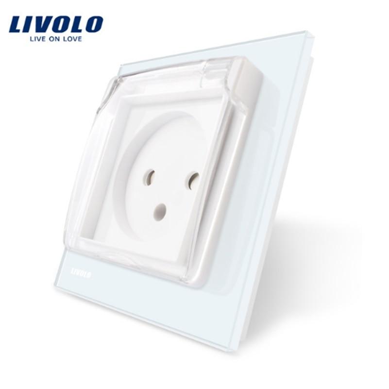 Livolo EU Standard Israel Power Socket, White Crystal Glass Panel, AC 100~250V 16A, VL--C7C1ILWF,with the Waterproof Cover.Livolo EU Standard Israel Power Socket, White Crystal Glass Panel, AC 100~250V 16A, VL--C7C1ILWF,with the Waterproof Cover.