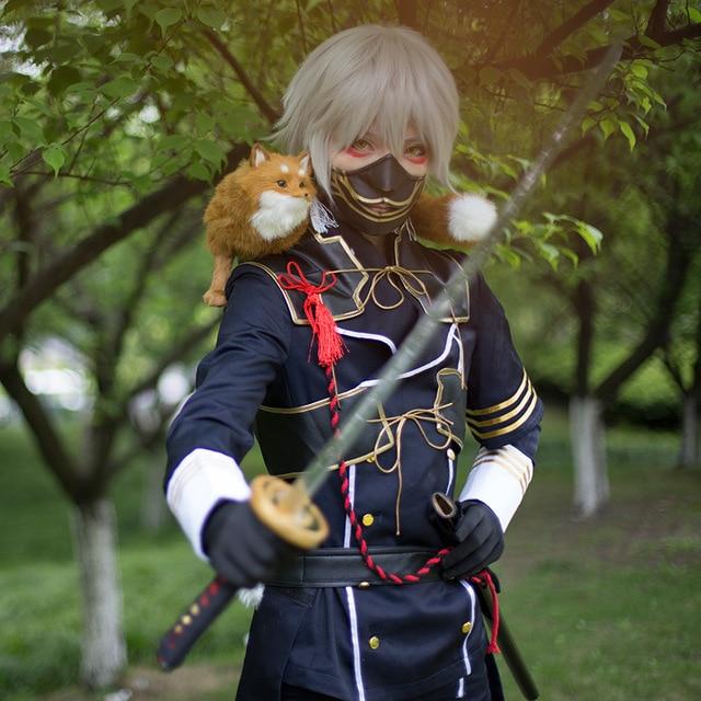 Touken Ranbu Online Nakigitsune Cosplay Keren Polyester Kostum Dengan Dasi Sarung Tangan Masker Anime Seragam