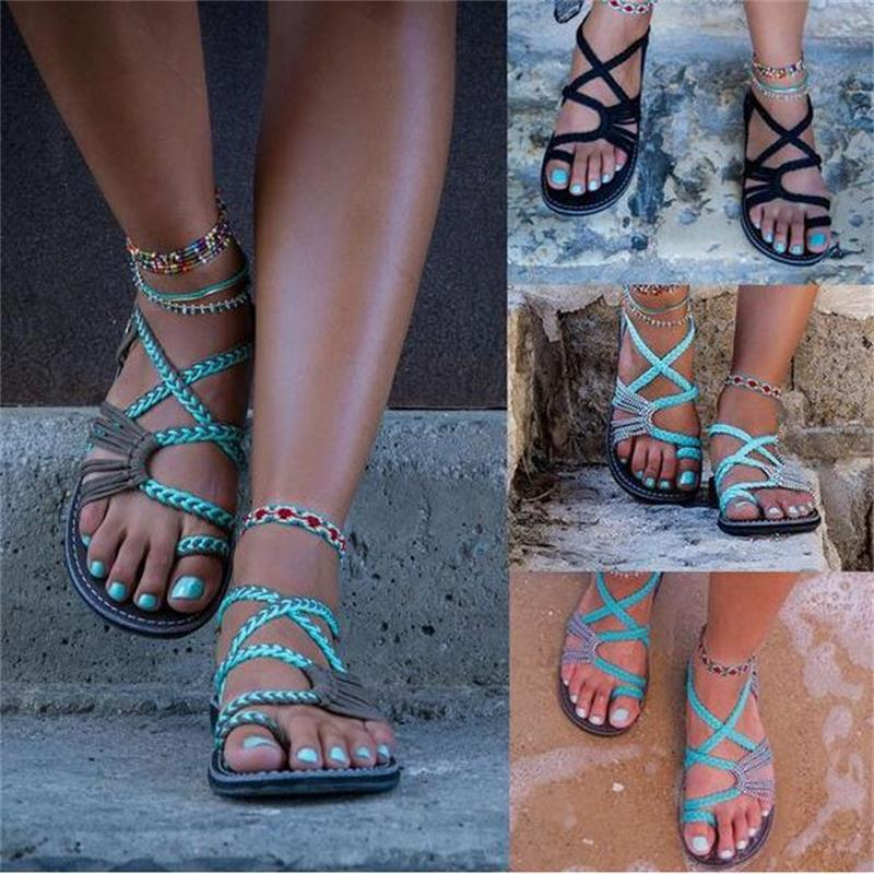 35-44 Plus Size Gladiator Women Sandals 2018 Fashion Bohemia Beach Casual Flat Flip Flops Female Ladies Summer Women Shoes DC137 goxpacer arrival fashion sandals rhinestone flats bohemia women summer style shoes women flat flip flops plus size 35 41