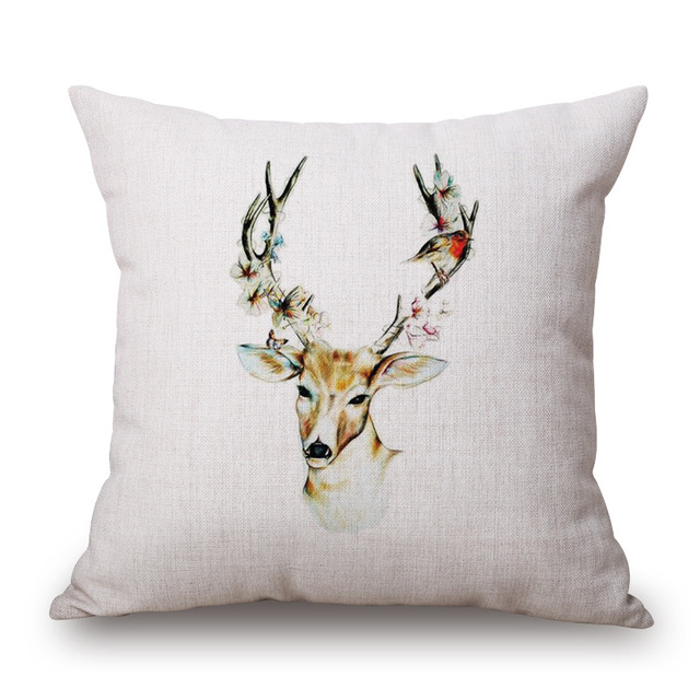 Modern Simple Pillow Case Wild Animal Elk Pattern Hunt Club Cotton Linen Chair Square Waist Throw Pillow Cover Home Textile