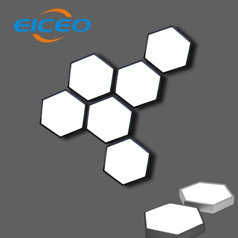 (EICEO) personnalité contracté étude lampe LED plafonnier Type de lumière hexagonale lumière bois créatif nid d'abeille chambre balcon