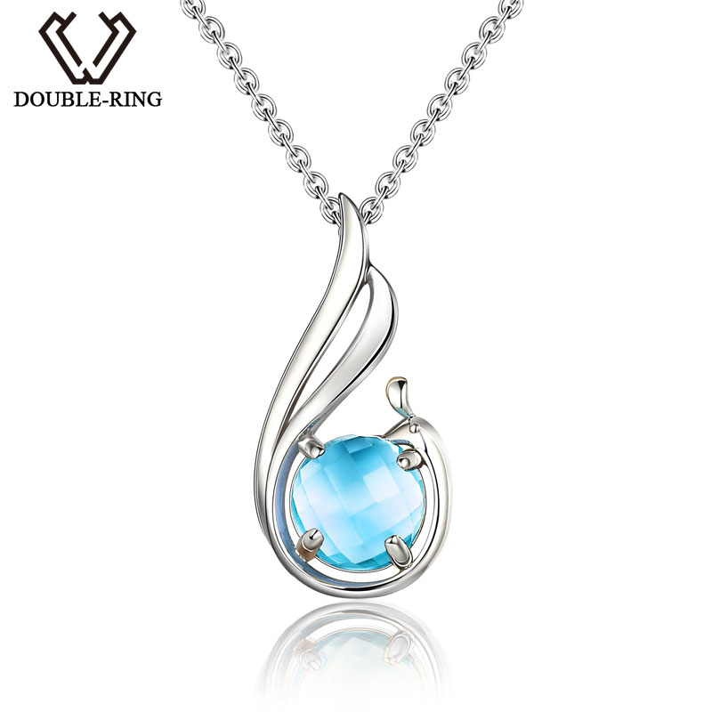 DOUBLE-R Genuine Pendant WING Necklace Pendant Natural Gemstone Blue Topaz Real 925 Sterling Silver Fine Gem Jewelry CASP00702C