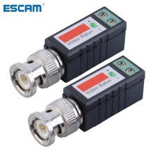 ESCAM 1 Pair Single 1 Channel Passive Video Transceiver BNC Connector Coaxial Adapter For Balun CCTV Camera DVR BNC UTP