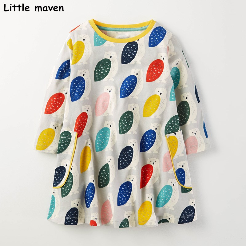 Little maven kids brand clothing 2017 new autumn baby girls clothes Cotton owl print girl A