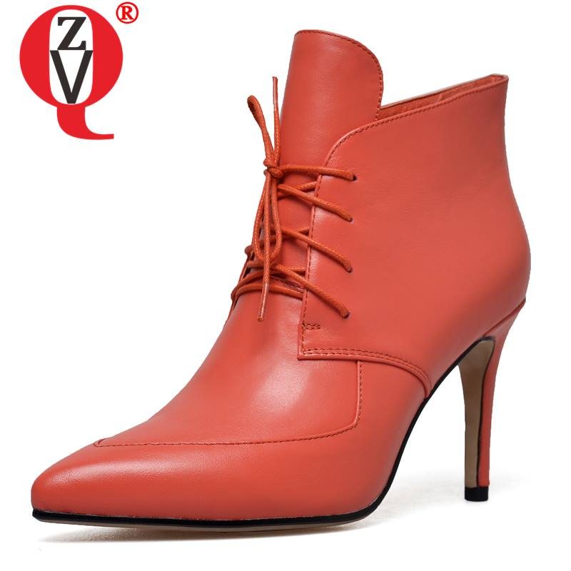 ZVQ genuine cow leather ankle boots orange red black white autumn winter plush lace-up high thin heels woman shoes 33-40 sizeZVQ genuine cow leather ankle boots orange red black white autumn winter plush lace-up high thin heels woman shoes 33-40 size