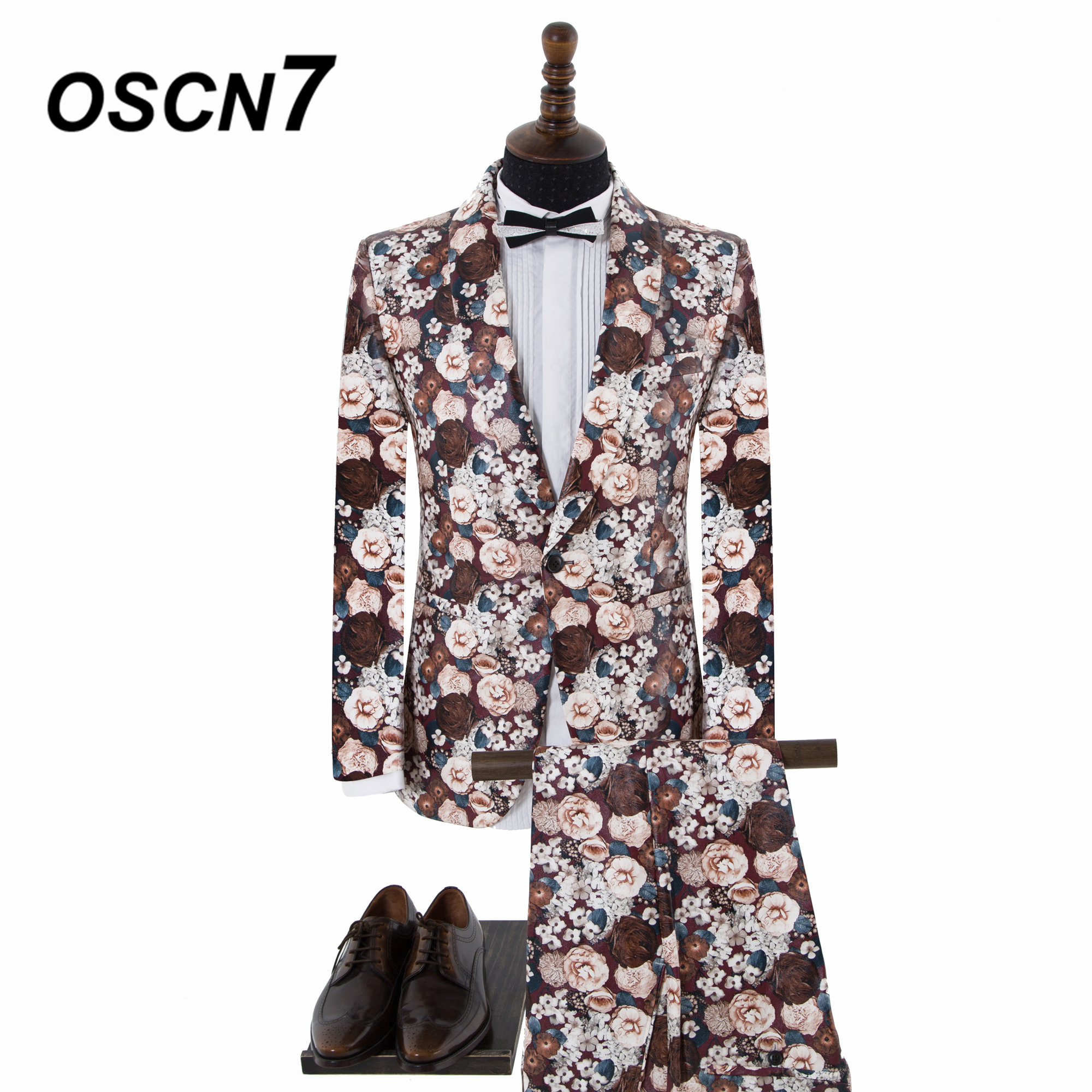 OSCN7 Flowers High-end Party Print 2PCS Tailor Made Suits