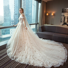 Renda Kereta Api Puteri 2018 Gaun Pengantin Perkahwinan Pakaian Plus Saiz Pakaian Perkahwinan Puteri dengan Lengan