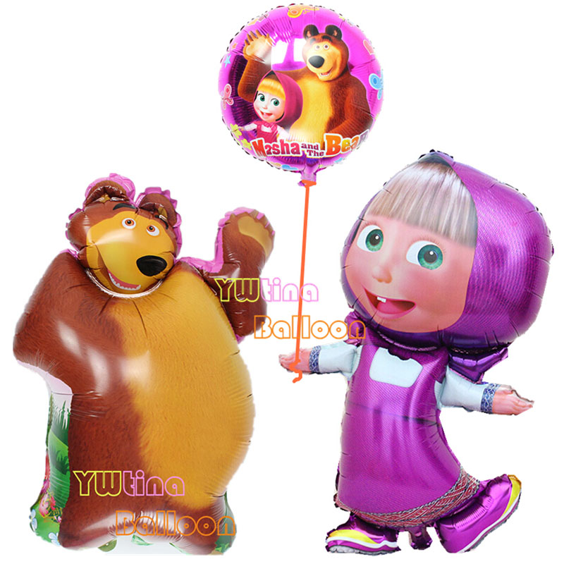 3pcs Lot Large Size Masha And Bear Toys Mawa And Bear Balloon Masha And Bear Party Decoration Classic Toys Aluminum Foil Balloon Balloon Walkers Balloon Balltoy Sniper Aliexpress