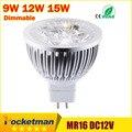 High lumen КРИ MR16-GU5.3 ПРИВЕЛИ пятно света лампы 12 В 220 В 110 В 9 Вт 12 Вт 15 Вт СВЕТОДИОДНЫЙ Прожектор Лампа ГУ 5.3 Светодиодные Лампы свет