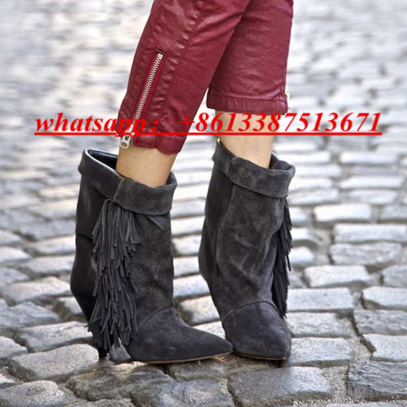 где купить Sexy Black Leather And Suede Wedge Booties Pointed Toe Slip On Slouchy Foldover Top Fringled Mony Boots Fall Winter Shoes Woman по лучшей цене