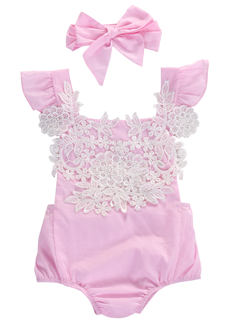 Verano 2017 Infant Baby Girls Pink Lace Romper Backless Floral Jumpsuit Conjuntos Set + diadema Sunsuit 0-18M
