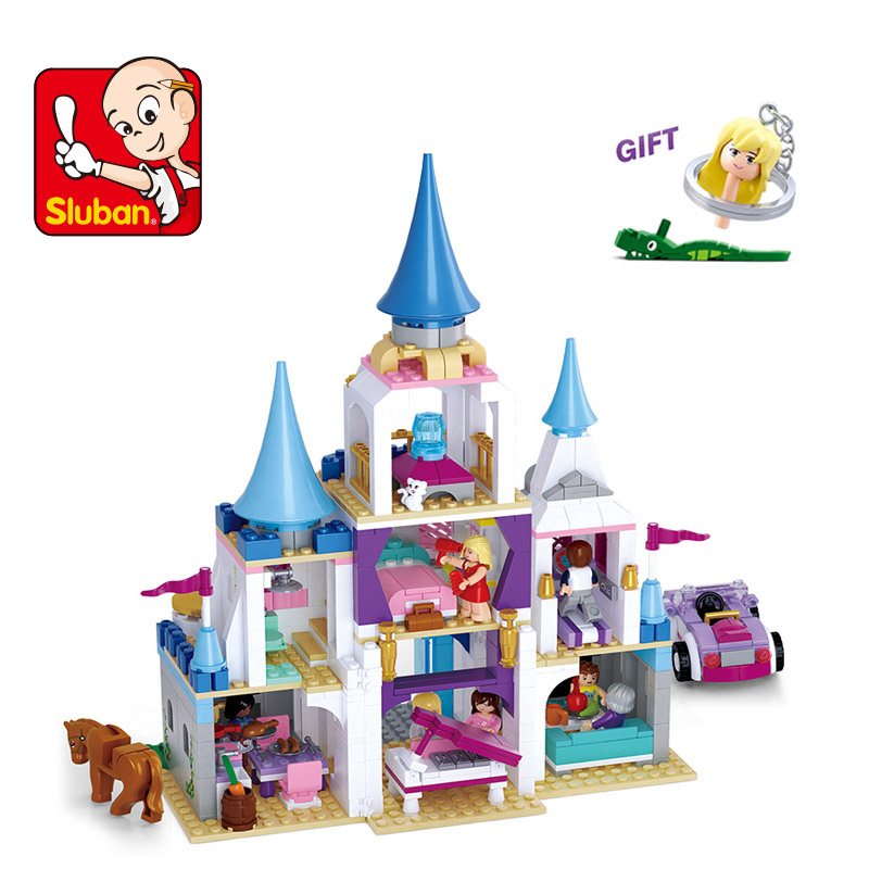 Sluban Building Bricks Blocks Princess Cinderella Sapphire Castle Compatible Lego Friends Education DIY Kit Gift Toys for Girls 10162 friends city park cafe building blocks bricks toys girl game toys for children house gift compatible with lego gift