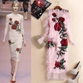 Free Shipping 2016 High End Pink O Neck Long Sleeves Roses Embroidery Mesh Sheath Women Dresses Fashion Runway Gown Vestidos