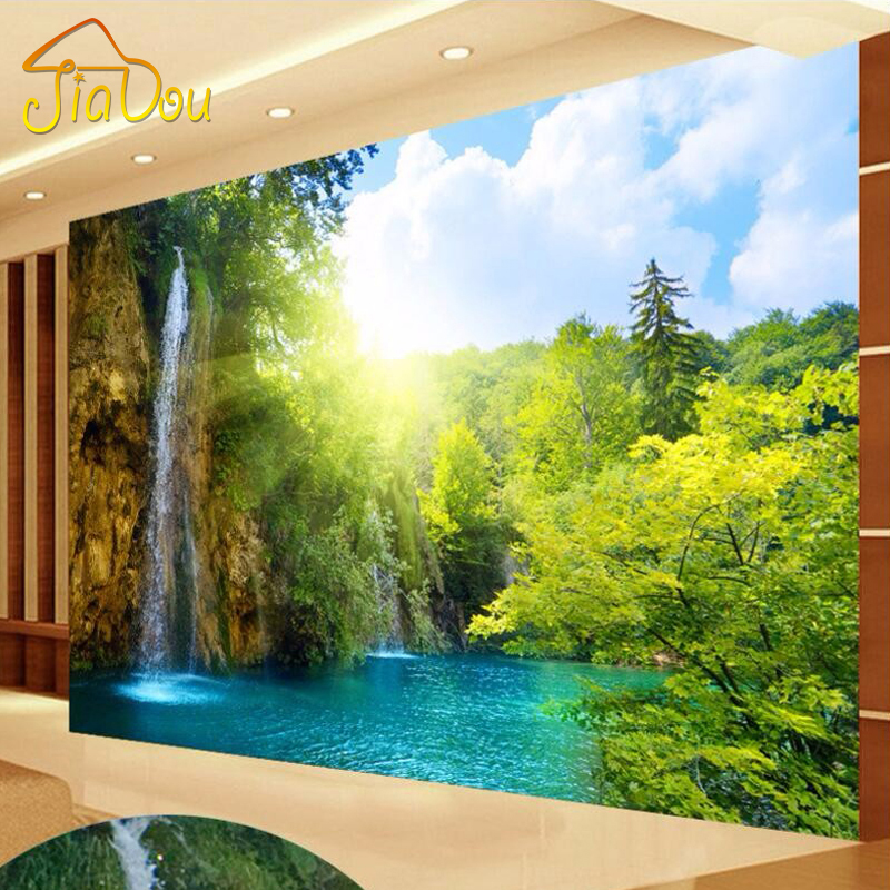 Custom 3d mural wallpaper waterfall landscape lake photo for Custom mural wallpaper