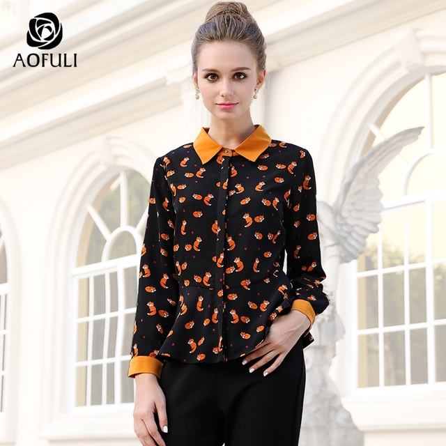 fabab777ea21c AOFULI M- 3xl 4xl 5xl Elegant Fox Print Casual Shirt Women Spring Plus Size  Blouse Long Sleeve Spring Autumn Ruffle Tops 6187