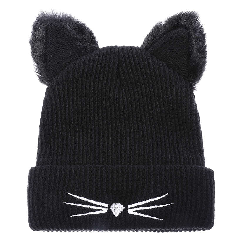 Autumn And Winter Hot Cakes Ulzzang Wind Cat Ear Fur Hat  Girls Fur Cat Ears Skullies Black Embroidered Knitted Hat