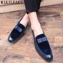 Dress-Shoes Men Formal Coiffeur Italian Ayakkabi Men Elegant Patent Leather Brand Knot