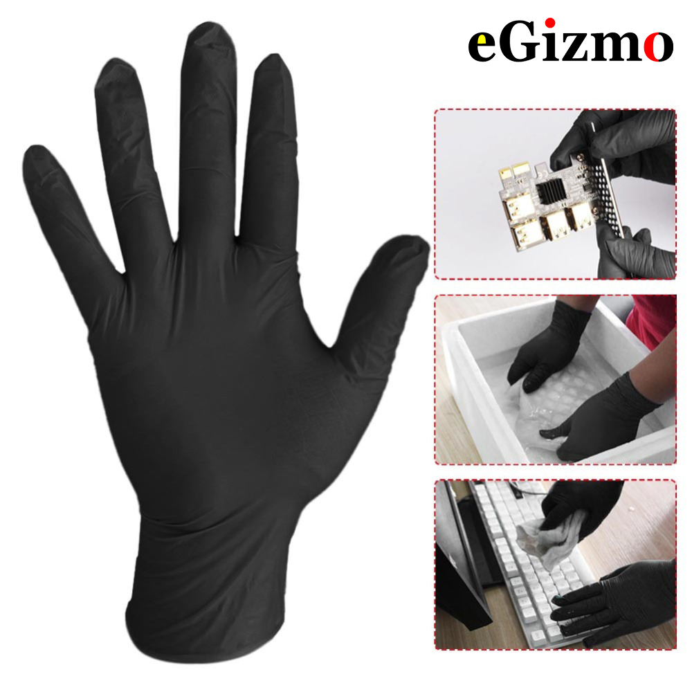 10Pcs Comfortable Rubber Disposable Mechanic Laboratory Safety Work Nitrile Gloves Black Safety Work Gloves 5 Pairs