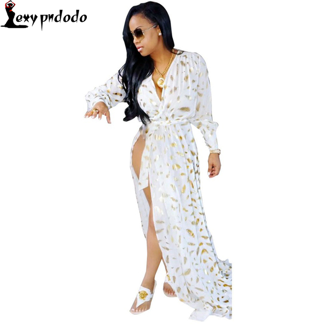 c42087a2c2ac Sexy V-Neck High Split camisones y batas mujer Women Sleepwear Robes Ladies  Long Sleeve