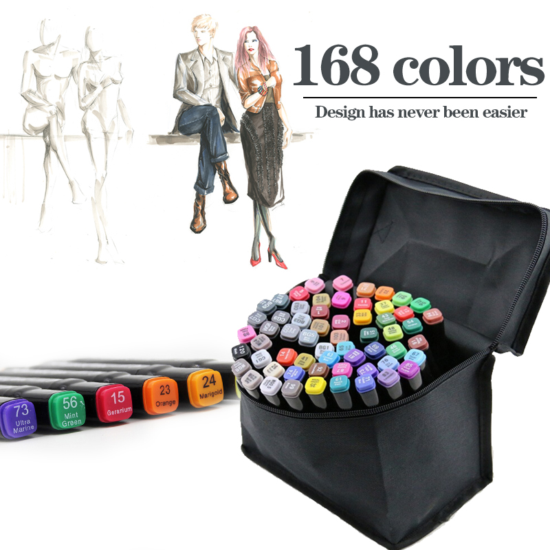 ФОТО 36/48/60/168 Colors Double Headed Marker Sketch Alcohol Designers Marker Pen Paint Sketch Art Copic Marker