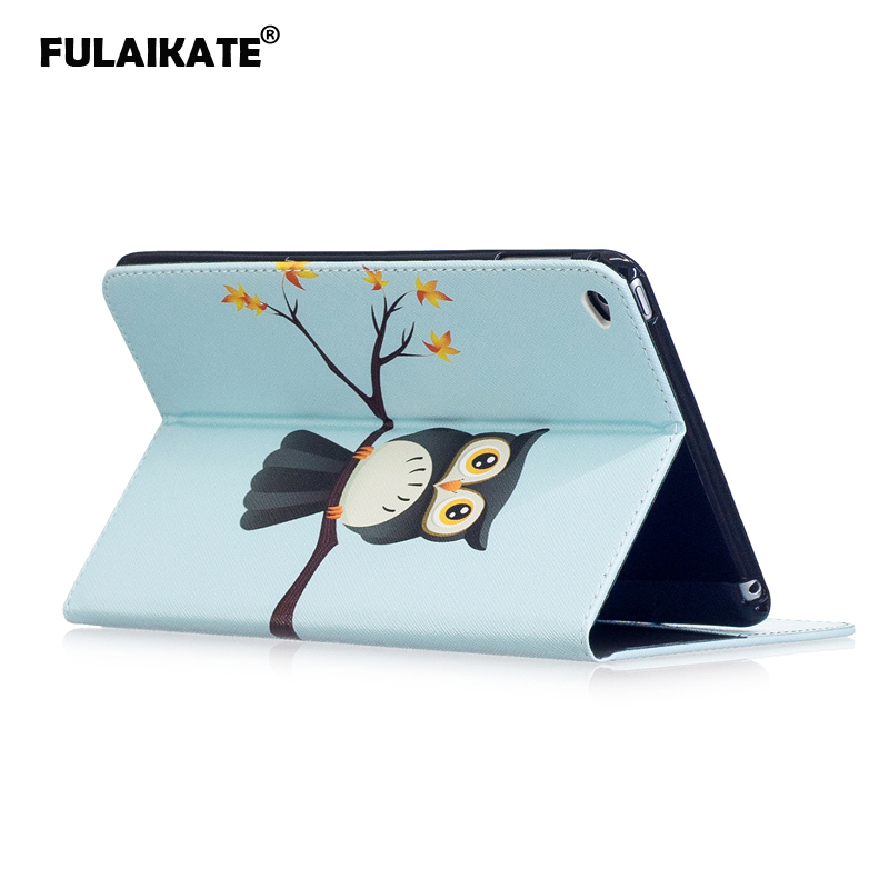 Fulaikate Cartoon Flip Case For Ipad Mini 4 Soft Stand Color Tpu Back Cover For Mini4 Protective Shell Skin With Card Pocket