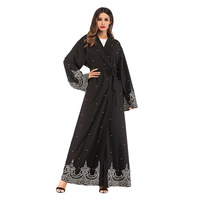 Women Trench Coats Arab Middle Eastern Muslim Long Sleeve Robe Embroidered Beading Long Coat Cardigan with Sashes TT1684