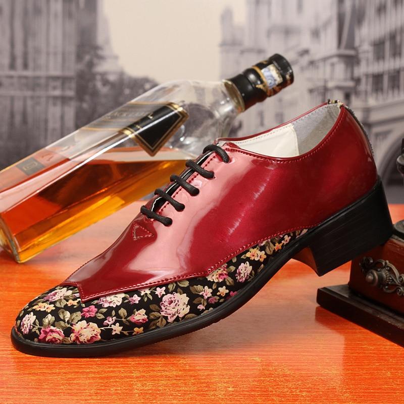 2018 Trend Mode Spitz Männer Schuhe Patent Leder Floral Muster Oxfords Schuhe Für Männer Party Schuhe Wc067 In Verschiedenen AusfüHrungen Und Spezifikationen FüR Ihre Auswahl ErhäLtlich