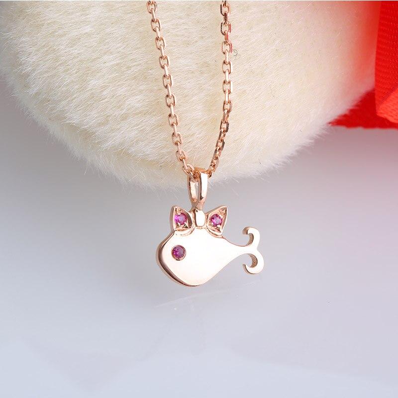 Robira_Jewelry Store Robira Ruby Necklace Sapphire Fish Pendant Necklace 14K Gold Gemstone Birthstone Fashion Fish Charms Necklace Jewelry For Women
