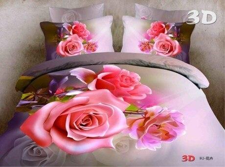 052165 4pcs/set pure cotton warm and comfortable bedding set 3D stereoscopic reactive printing home textile