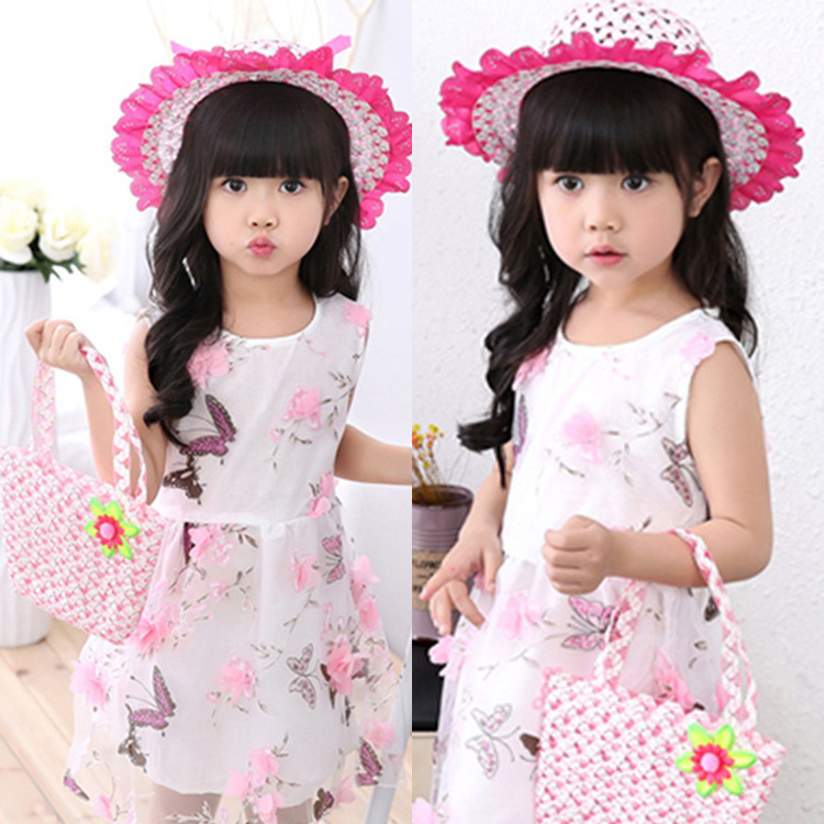Children girl flower sun hat large brimmed baby sun hat child baby bag two-piece summer beach hat travel cap beanies